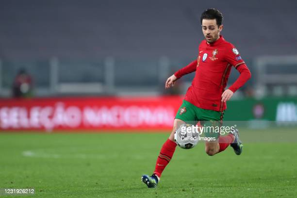 Bernardo Silva of Portugal controls the ball during the FIFA World Cup 2022 Qatar qualifying match between Portugal and Azerbaijan on March 24, 2021...