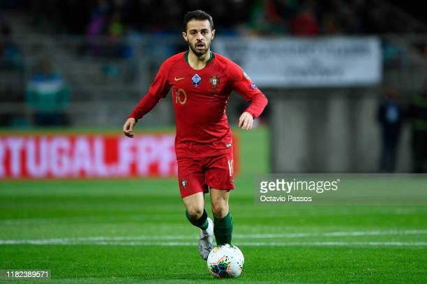 Bernardo Silva of Portugal in action during the UEFA Euro 2020 Qualifier match between Portugal and Lithuania at Algarve Stadium on November 14, 2019...