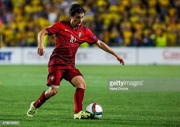 Bernardo Silva of Portugal in action during UEFA U21 European Championship final match between Portugal and Sweden at Eden Stadium on June 30 2015 in...