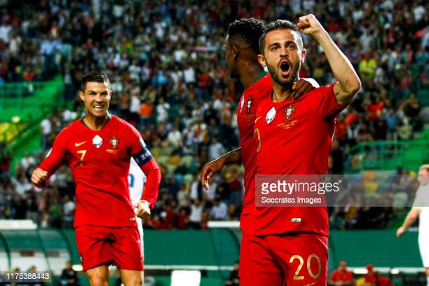 Bernardo Silva of Portugal Nelson Semedo of Portugal celebrates goal 10 during the UEFA Nations league match between Portugal v Luxembourg at the...