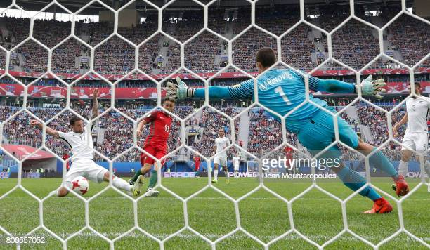Bernardo Silva of Portugal scores his sides second goal past Stefan Marinovic of New Zealand during the FIFA Confederations Cup Russia 2017 Group A...