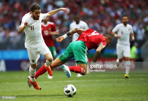 Bernardo Silva of Portugal vies with Manuel Da Costa of Morocco during the 2018 FIFA World Cup Russia group B match between Portugal and Morocco at...