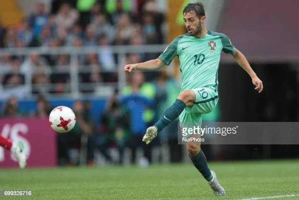Bernardo Silva of the Portugal national football team vie for the ball during the 2017 FIFA Confederations Cup match first stage Group A between...