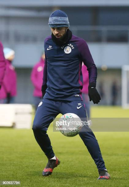 Bernardo Silva on the ball during training at Manchester City Football Academy on January 8 2018 in Manchester England