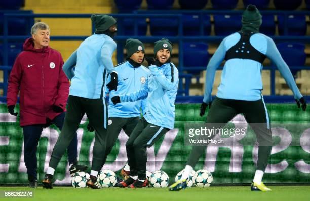 Bernardo Silva reacts during a Manchester City training session on December 5 2017 in Kharkov Ukraine