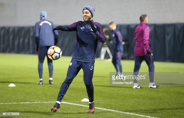 Bernardo Silva reacts during training at Manchester City Football Academy on January 5 2018 in Manchester England