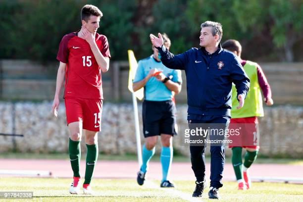 Bernardo Silva receives instructions by Rui Bento Head Coach of Portugal U17 during U17Juniors Algarve Cup match between U17 Portugal and U17 Germany...