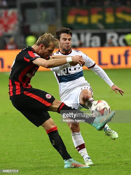 Bernat of Bayern München in action against his opponent during the Bundesliga soccer match between Eintracht Frankfurt and Bayern München at the...