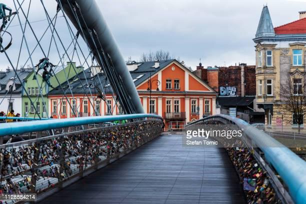 bernatek footbridge in krakow old town characteristic by its unique design - cieszyn stock pictures, royalty-free photos & images