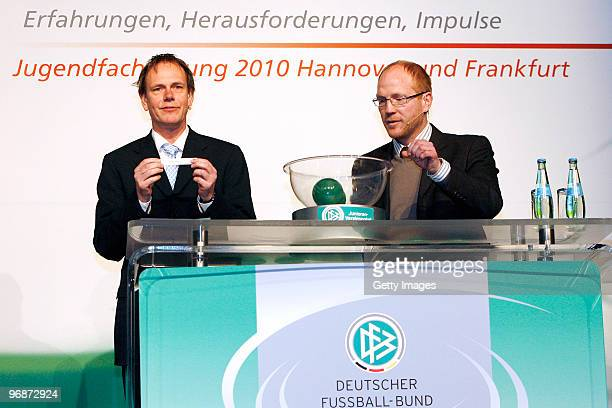 Bernd Barutta and Matthias Sammer attend the DFB Youth Expert conference on February 19 2010 in Hanover Germany
