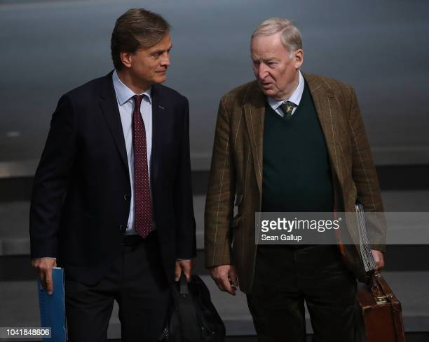 Bernd Baumann and Alexander Gauland of the rightwing Alternative for Germany political party attend a plenary session at the Bundestag on September...
