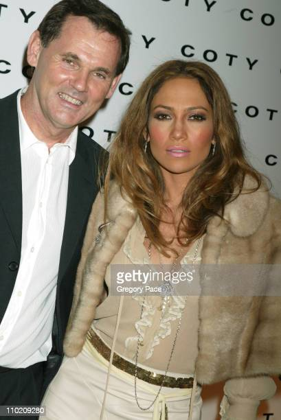 Bernd Beetz CEO of Coty Inc and Jennifer Lopez during Coty's 100th Anniversary Celebration at American Museum of Natural History's Rose Center in New...