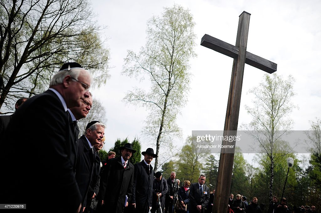 Bernd Busemann, Minister President of the State of Lower Saxony Stephan Weil (SPD) and German President Joachim Gauck (3-L) attend a ceremony to commemorate the 70th anniversary of the liberation of the Bergen-Belsen concentration camp at the former camp site on April 26, 2015 near Lohheide, Germany. An estimated 70,000 inmates died at the hands of the Nazis at Bergen-Belsen during World War II, including Jews and Soviet prisoners of war. Most famous among the victims is Anne Frank, who died at Bergen-Belsen of typhus shortly before the liberation by British troops in April, 1945.