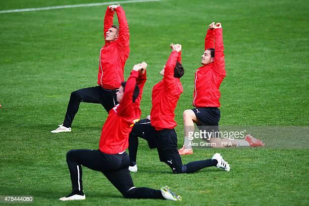 Bernd Gschweidl and team mates attend an Austria U20s training session at David Farrington Park on June 1 2015 in Auckland New Zealand