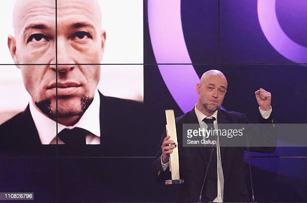 Bernd Heinrich Graf of the German band Unheilig accepts his Radio ECHO Award at the Echo Awards 2011 at Palais am Funkturm on March 24 2011 in Berlin...