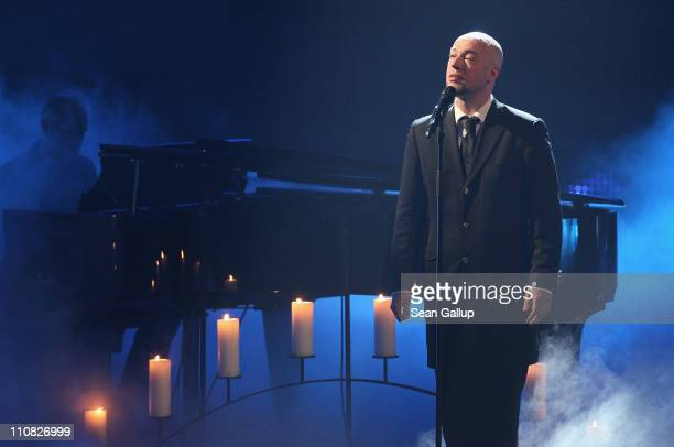 Bernd Heinrich Graf of the German band Unheilig performs at the Echo Awards 2011 at Palais am Funkturm on March 24 2011 in Berlin Germany