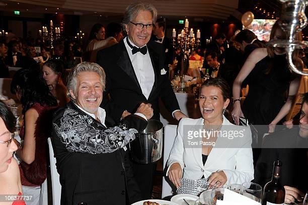Bernd Herzsprung; Frank Schaetzing and Sabina Valkieser-Schaetzing attend the UNESCO Charity-Gala 2010 at Maritim Hotel on October 30, 2010 in...