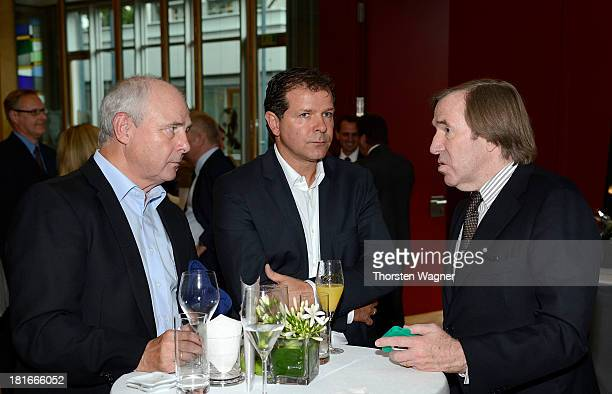 Bernd Hoelzenbein Andreas Moeller and Guenter Netzer talks during the 20th Annisversary celebrations of DFB Travel Agency at the German Football...