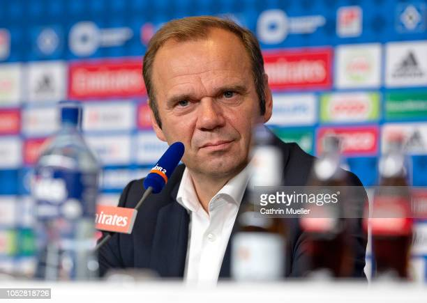Bernd Hoffmann, chairman of Hamburger SV looks on during a press conference at Volksparkstadion on October 23, 2018 in Hamburg, Germany.