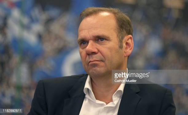 Bernd Hoffmann, chairman of Hamburger SV watching a press conference of Hamburger SV at Volksparkstadion on May 29, 2019 in Hamburg, Germany.