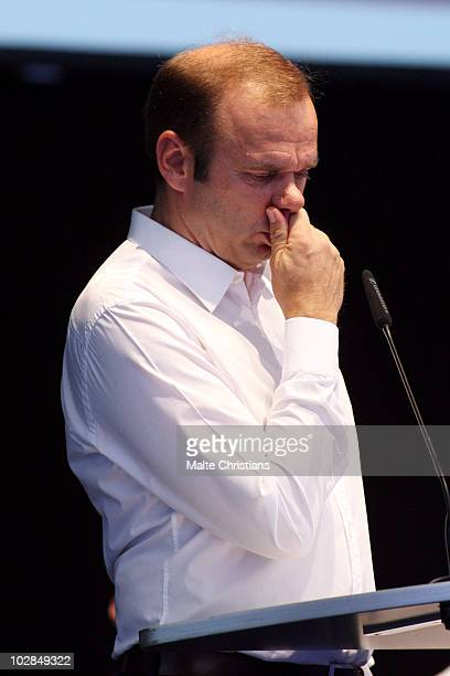 Bernd Hoffmann manager of Hamburger SV gestures during his speech at the Hamburger SV general meeting at the Imtech Arena on July 13, 2010 in...