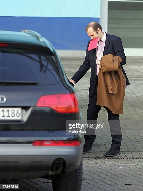 Bernd Hoffmann, president of Hamburg, leaves the training area of Bundesliga club Hamburger SV on February 01, 2007 in Hamburg, Germany.Hamburger SV...