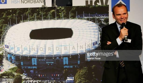 Bernd Hoffmann president of Hamburger SV poses during the press conference of Bundesliga club Hamburger SV at AOL Arena on March 29, 2007 in Hamburg,...