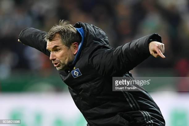 Bernd Hollerbach, coach of Hamburg, gestures during the Bundesliga match between SV Werder Bremen and Hamburger SV at Weserstadion on February 24,...