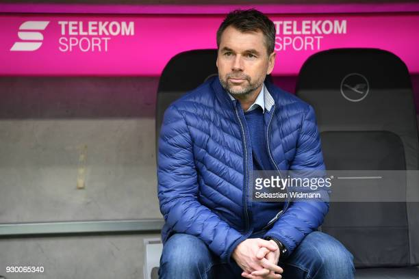 Bernd Hollerbach, coach of Hamburg, sits on the bench before the Bundesliga match between FC Bayern Muenchen and Hamburger SV at Allianz Arena on...