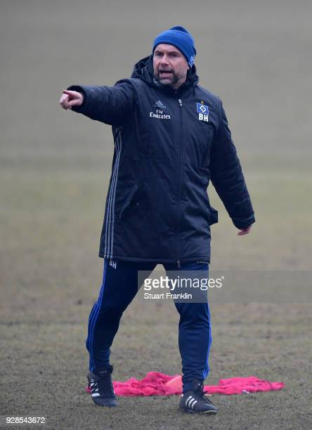 Bernd Hollerbach, head coach of Hamburg gestures during a training session of Hamburger SV at Volksparkstadion on March 7, 2018 in Hamburg, Germany.