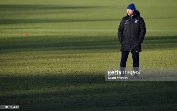Bernd Hollerbach, head coach of Hamburg looks on during a training session of Hamburger SV at Volksparkstadion on February 14, 2018 in Hamburg,...