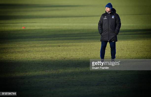Bernd Hollerbach head coach of Hamburg looks on during a training session of Hamburger SV at Volksparkstadion on February 14 2018 in Hamburg Germany