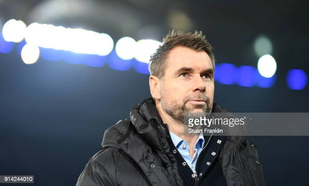 Bernd Hollerbach, head coach of Hamburg looks on during the Bundesliga match between Hamburger SV and Hannover 96 at Volksparkstadion on February 4,...