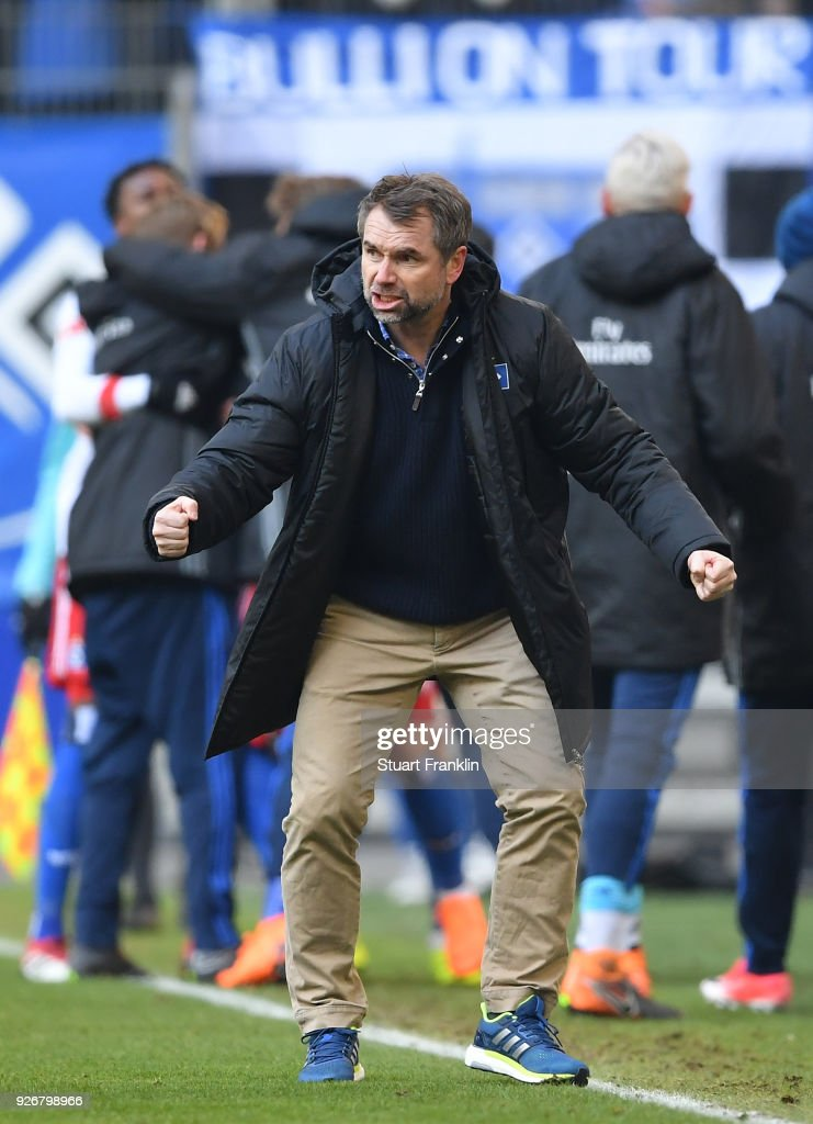 Bernd Hollerbach, head coach of Hamburg reacts during the Bundesliga match between Hamburger SV and 1. FSV Mainz 05 at Volksparkstadion on March 3, 2018 in Hamburg, Germany.