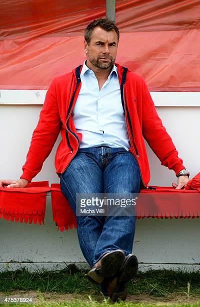 Bernd Hollerbach, head coach of Wuerzburg looks on prior to the Regionalliga Playoffs match between Wuerzburger Kickers and 1. FC Saarbruecken at...