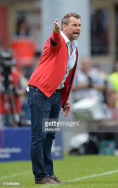 Bernd Hollerbach, head coach of Wuerzburg reacts during the Regionalliga Playoffs match between Wuerzburger Kickers and 1. FC Saarbruecken at...
