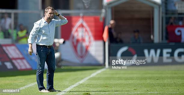 Bernd Hollerbach, head coach of Wuerzburg reacts during the Third League match between Wuerzburger Kickers and Erzgebirge Aue at flyeralarm Arena on...