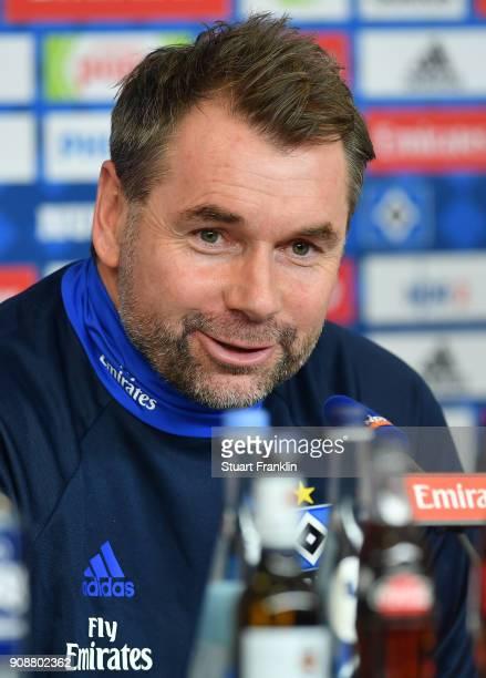 Bernd Hollerbach new head coach of Hamburger SV talks to the media during a press conference of Hamburger SV at Volksparkstadion on January 22 2018...