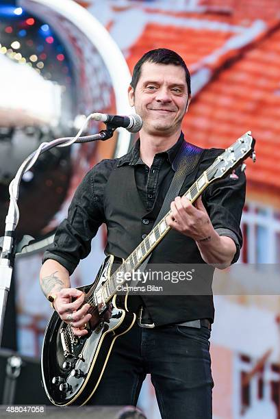 Bernd Kurtzke of the band Beatsteaks performs live on stage during the second day of the Lollapalooza Berlin music festival at Tempelhof Airport on...