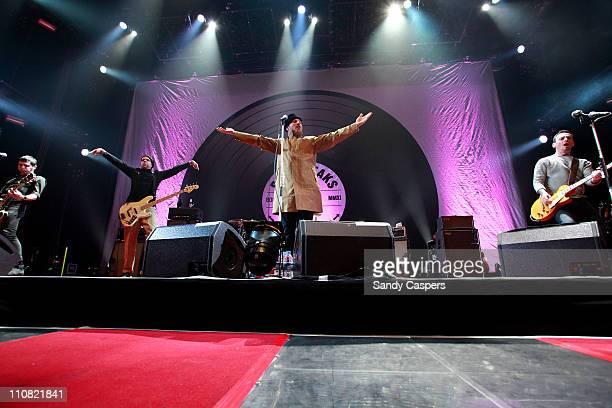Bernd Kurtzke, Torsten Scholz, Arnim Teutoburg-Weiss and Peter Baumann of Beatsteaks performs on stage at Olympiahalle on March 24, 2011 in Munich,...