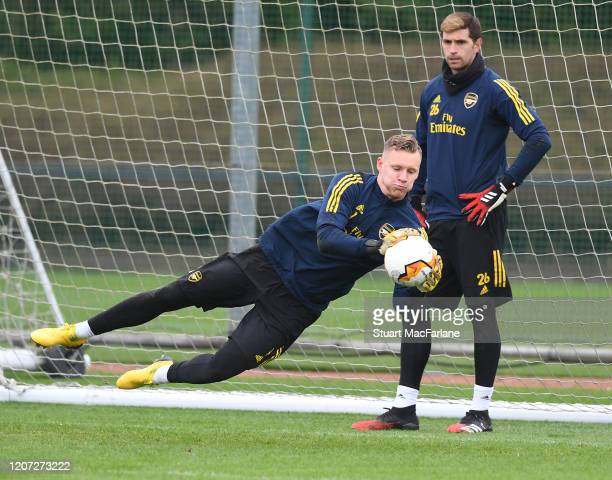 Bernd Leno and Emi Martinez of Arsenal during a training session at London Colney on February 19 2020 in St Albans England