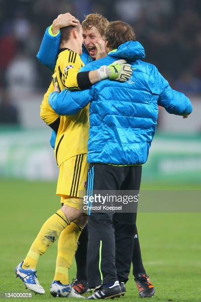 Bernd Leno and Stefan Kiessling of Leverkusen celebrate during the UEFA Champions League group E match between Bayer 04 Leverkusen and Chelsea FC at...