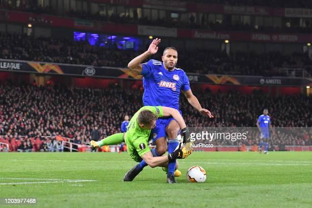 Bernd Leno and Youssef ElArabi during Europa League Round of 32 2nd Leg between Arsenal and Olympiakos at Emirates stadium London England on 27...