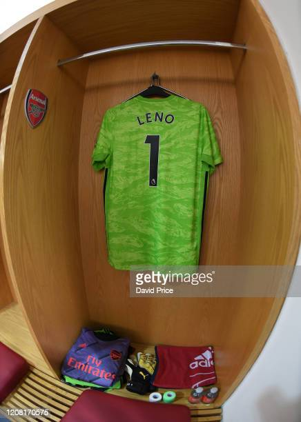 Bernd Leno Arsenal shirt in the changingroom before the Premier League match between Arsenal FC and Everton FC at Emirates Stadium on February 23...