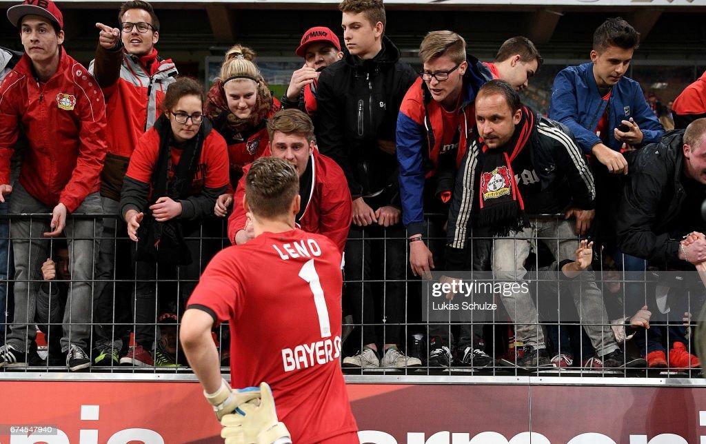 Bernd Leno, goalkeeper of Leverkusen discuss with the fans after the Bundesliga match between Bayer 04 Leverkusen and FC Schalke 04 at BayArena on April 28, 2017 in Leverkusen, Germany.