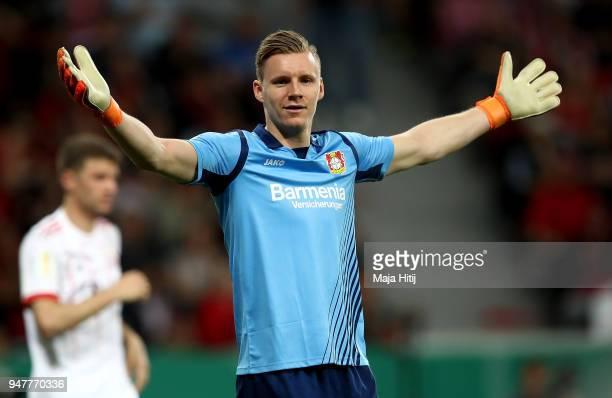 Bernd Leno goalkeeper of Leverkusen reacts during the DFB Cup semi final match between Bayer 04 Leverkusen and Bayern Munchen at BayArena on April 17...