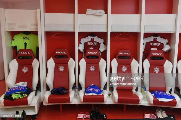 Bernd Leno, Hector Bellerin and Kieren Tierney shirts in the Arsenal changing room before the UEFA Europa League Round of 32 match between Arsenal FC...
