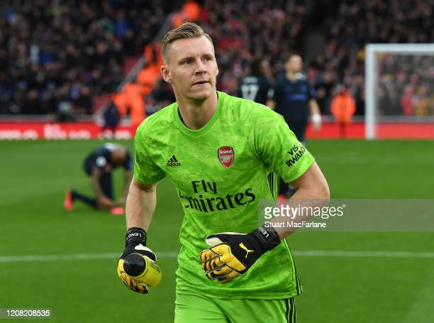 Bernd Leno of Arsenal before the Premier League match between Arsenal FC and Everton FC at Emirates Stadium on February 23 2020 in London United...