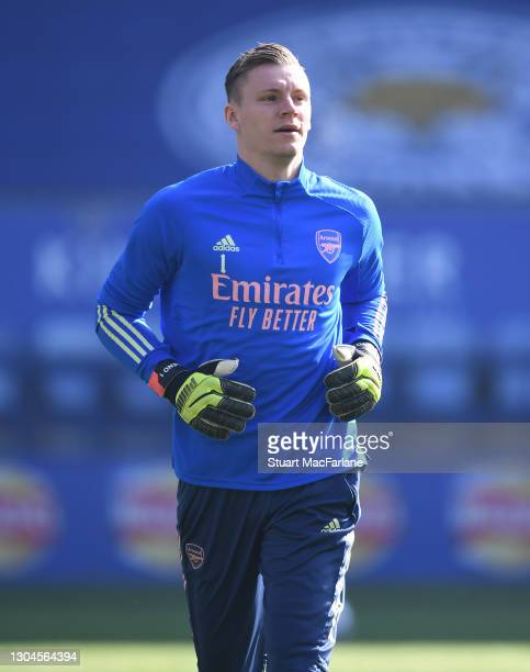 Bernd Leno of Arsenal before the Premier League match between Leicester City and Arsenal at The King Power Stadium on February 28, 2021 in Leicester,...