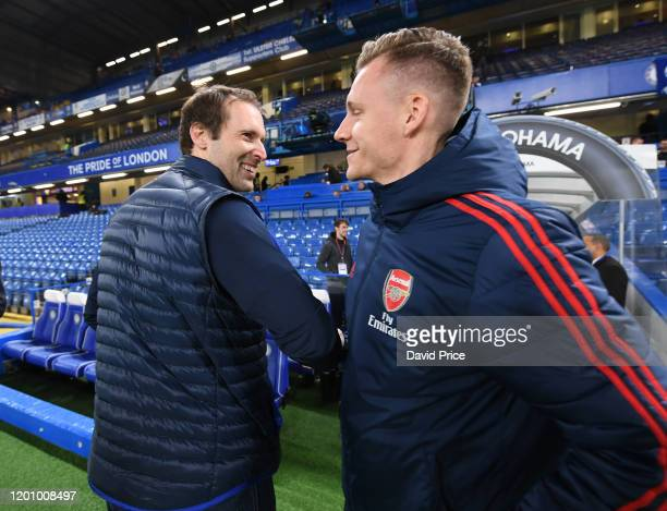 Bernd Leno of Arsenal chats to Petr Cech ex Arsenal and Chelsea player before the Premier League match between Chelsea FC and Arsenal FC at Stamford...